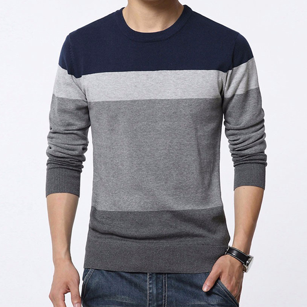Autumn Casual Men Sweater O-Neck Striped Slim Knittwear Sweaters Mens Pullovers Long Sleeve Thin Sweater Male Tops M-3XL