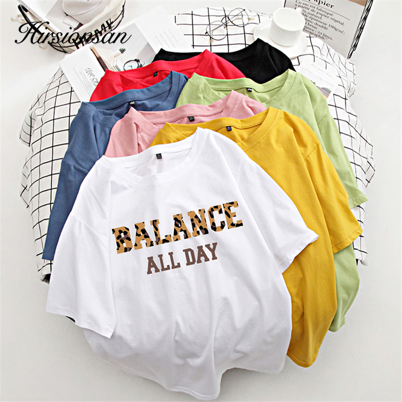 Hirsionsan 100% Cotton 7 Colors Summer Women T Shirt Short Sleeve Leopard Letter Print Female Soft Top Jumper Streetwear M-XXXL