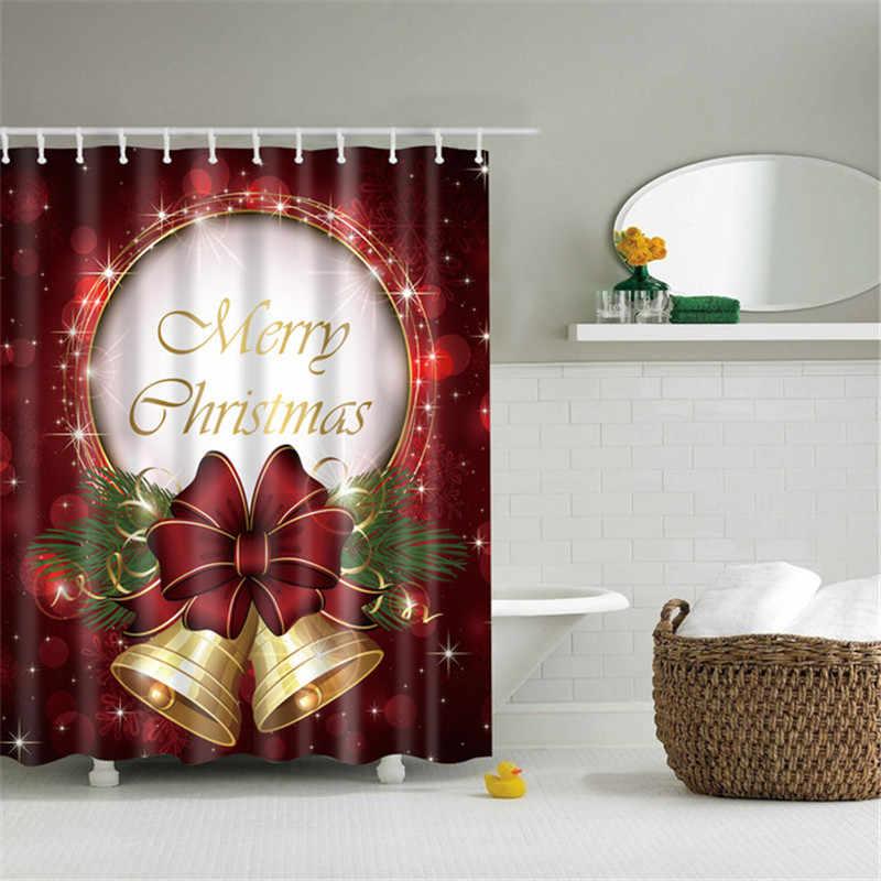 Natale illuminato Tenda Della Doccia Stampata Felice Anno Nuovo Babbo natale Rosso Impermeabile Tende per Doccia Bagno Di Natale Decor
