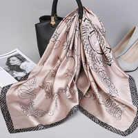 2019 Fashion Kerchief Silk Satin Neck Scarf For Women Print Hijab Scarfs Female 90*90cm Square Shawls and Wraps Scarves For Lady