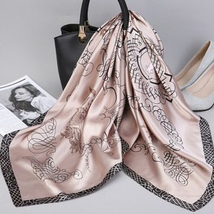 2019 Fashion Kerchief Silk Satin Neck Scarf For Women Print Hijab Scarfs Female 90*90cm Square Shawls and Wraps Scarves For Lady(China)