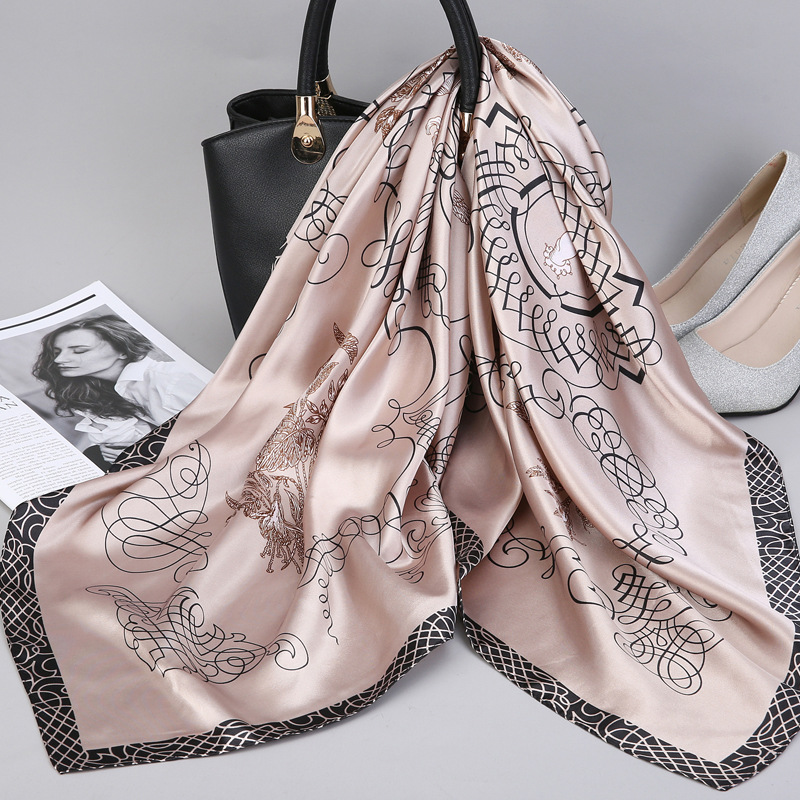 2019 Fashion Kerchief Silk Satin Neck   Scarf   For Women Print Hijab Scarfs Female 90*90cm Square Shawls and   Wraps     Scarves   For Lady