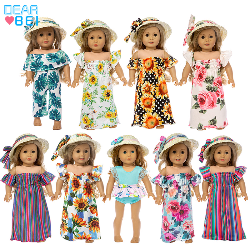 2019 New Fashion  Straw Hat And Skirt  Suits Fit For American Girl Doll 18Inch American Girl Doll Clothes