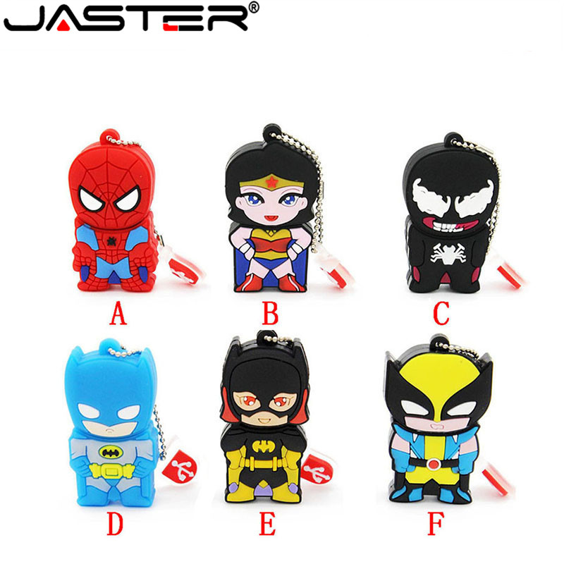 JASTER Double Face Super Hero Spider Man Pendrive Cartoon Venom Spiderman Pen Drive 8gb 16gb 32gb Usb Flash Drive Memory Stick