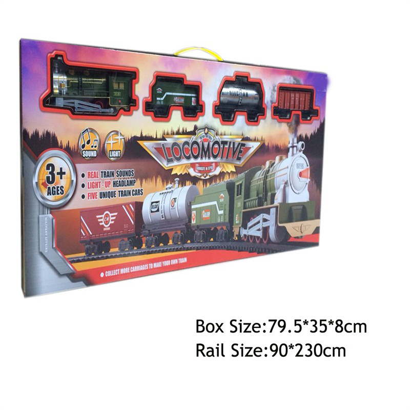 Children Assembled Electric Rail Train Model Model Retro Classic Steam Light And Sound Train Toy