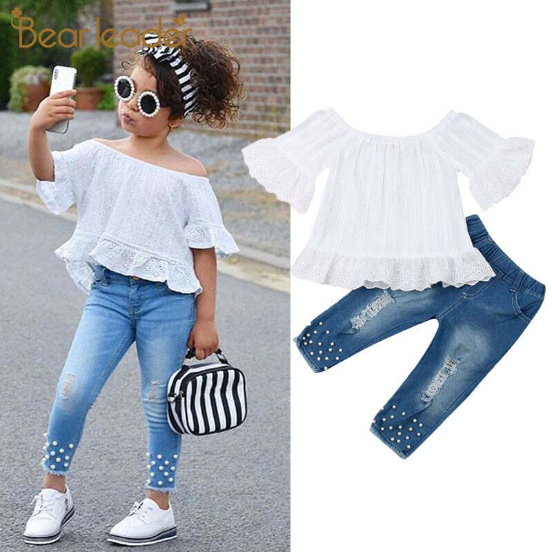 Bear Leader 1-6Y Toddler Kids Baby Girls Clothes Sets White Tops T-shirt Denim Long Pants Jeans Outfits Set Girls Fall Outfits