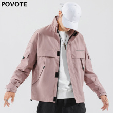 POVOTE brand men's overalls trend matching jacket men's casual cool fashion jacket hip hop couple thin jacket trend design