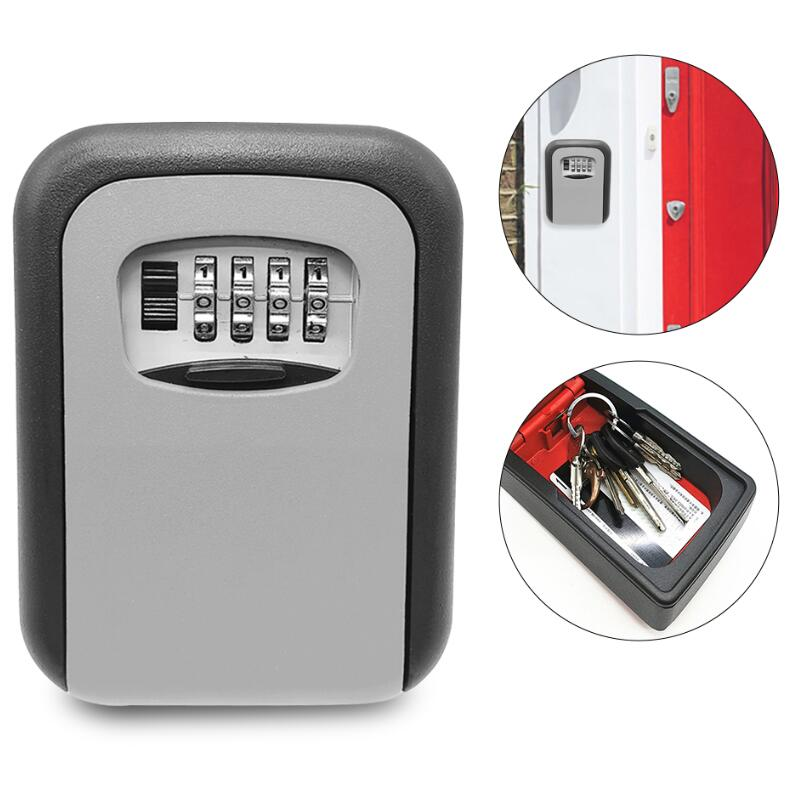 Key Storage Lock Box 4-Digit Combination Lock Box Key Safe Box Security Key Holder Wall Mounted Lock Box