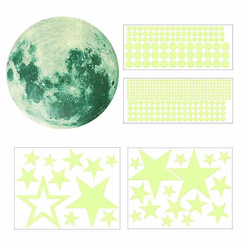 435 шт светящиеся Луна точки звезды мультфильм DIY стикер стены s для детской комнаты спальня светится в темноте стикер стены домашний декор XNC