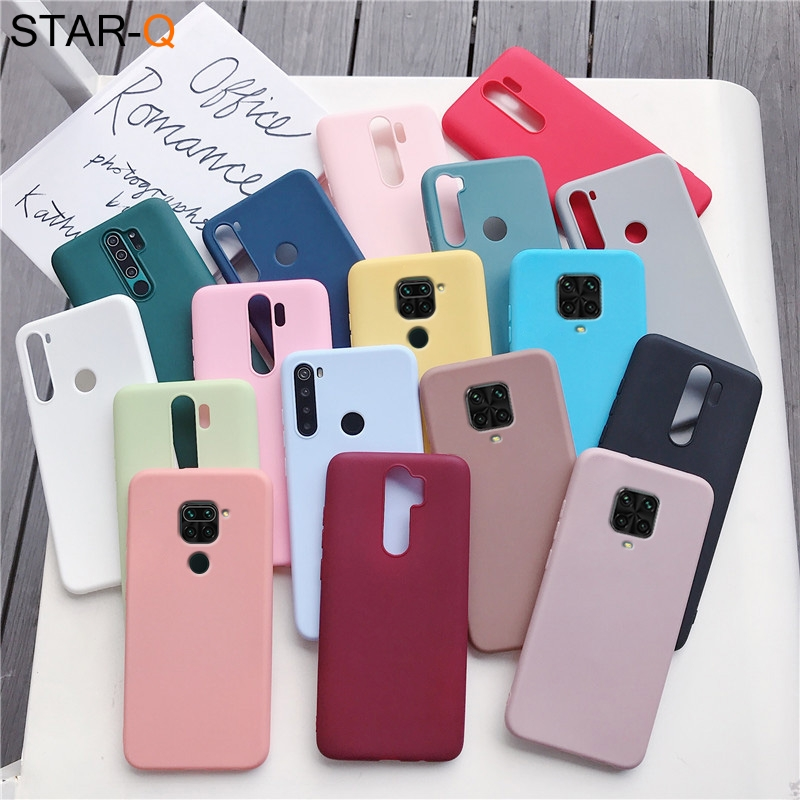 candy color silicone phone case for xiaomi redmi note 9 pro max 9s redmi 9 9a 9c 10x 4g 5g pro 8 8t redmi9 matte soft tpu cover(China)
