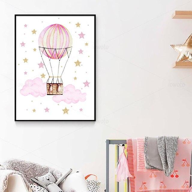 Rose petites étoiles nuage Art imprimer bébé éléphant enfants affiche ballon à Air chaud toile peintures dans la chambre pépinière Art mural