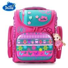 Delune Brand Children School Bags For Boys Girls Cartoon School Bag Backpack for Boys Backpack Orthopedic Girls kids Backpack цена
