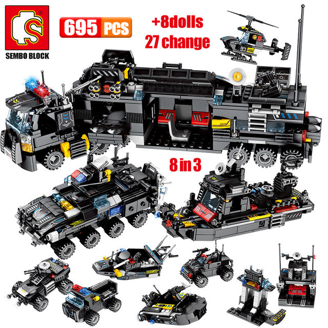 SEMBO 695PCS SWAT Military Series Truck Car Building Blocks City Police Helicopter Ship Figures Bricks Toys for Children