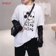 Mickey Mouse Loose Women Shirts Plus Size Casual Long Sleeve Spring Cartoon Mesh Top Harajuku Graphic T Shirts 2020(China)