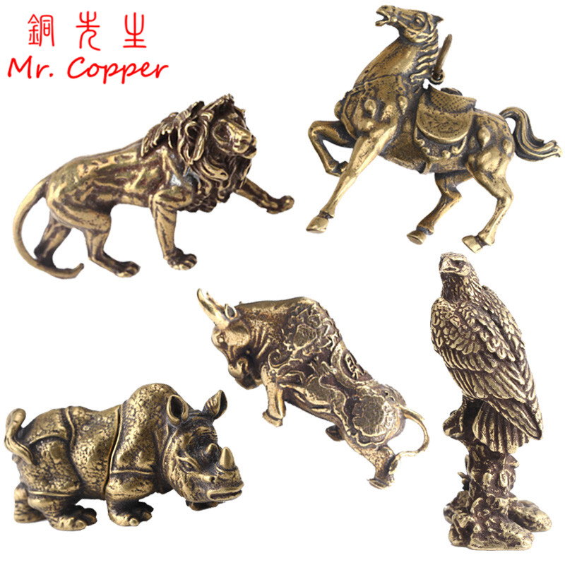 Vintage Copper Animals Eagle Lion King Bull Rhinoceros War Horse Figurines Desk Ornament Home Decoration Accessories Brass Craft