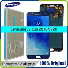 삼성 갤럭시 J7 듀오 용 슈퍼 AMOLED 5.5 lcd 2018 J720 J720F AMOLED LCD 디스플레이 터치 스크린 디지타이저 어셈블리 조정 가능