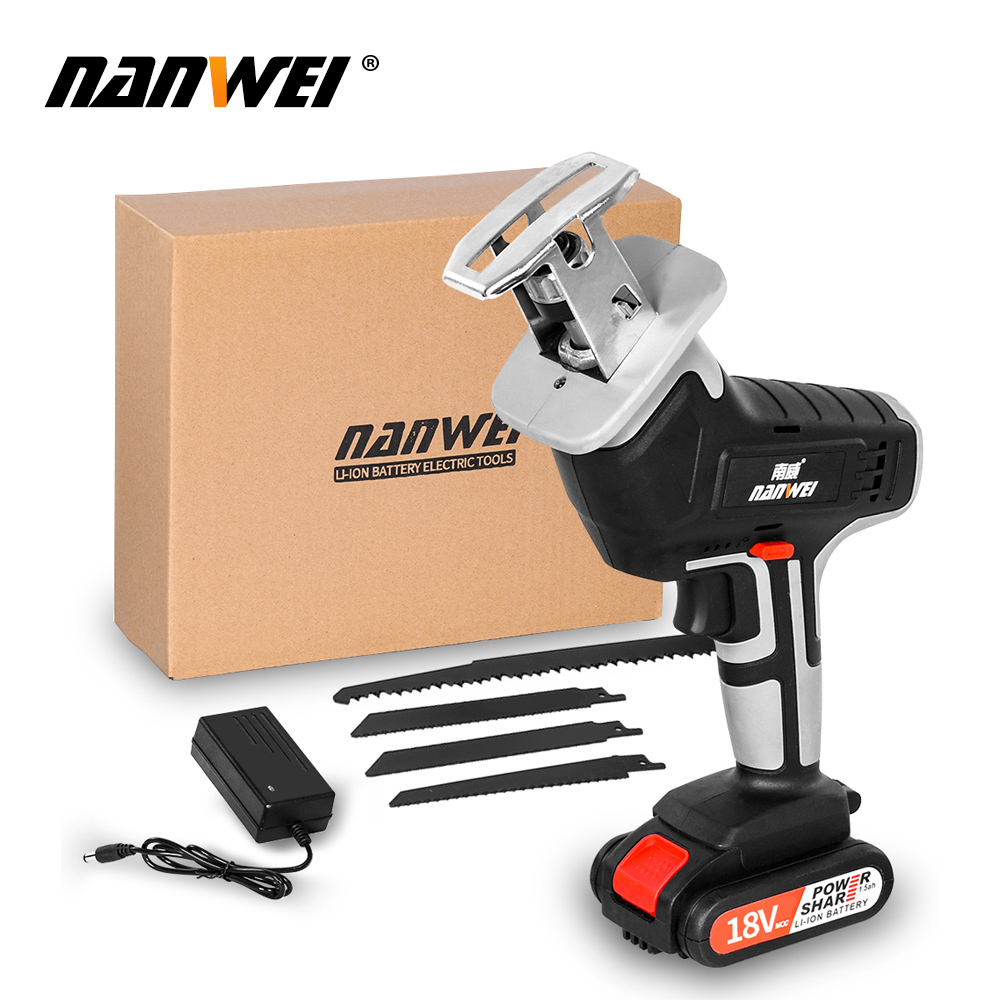 18V42vf NANWEICordless Electric Lithium Power tool Portable and rechargeable Hand Reciprocating Saw Saber Saw Multi-function saw - Цвет: 18V 1B set1