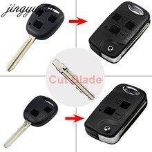 Jingyuqin corte cuchilla 2/3 botones llave Fob para Toyota Camry RAV4 Corolla Prado, Yaris incluyen corte en blanco