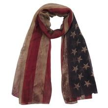 Vintage USA American Flag Stars Stripes Print Womens Scarf Shawl Wrap Lightweight