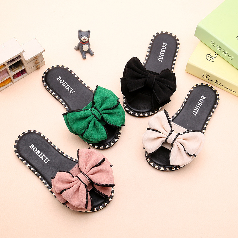 2020 Spring Summer Girls Beach Shoes Cute Bow-knot Sandals Flat House Flip Flop Children Non-slip Candy Color Flat Slippers