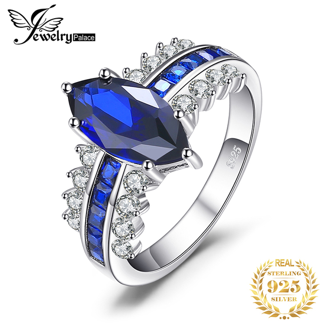 JewelryPalace Luxury Created Blue Sapphire Ring 925 Sterling Silver Rings for Women Engagement Ring Silver 925 Gemstones Jewelry