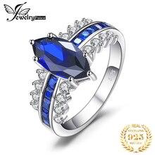 JewelryPalace anillo de zafiro azul de lujo creado 925 anillos de plata esterlina para mujeres anillo de compromiso plata 925 joyas de piedras preciosas