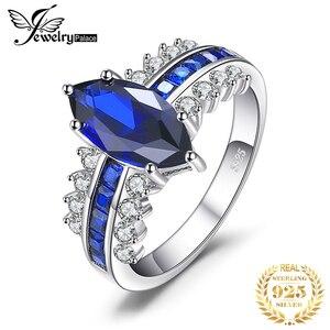 Image 1 - Jewelrypalace 高級作成ブルーサファイアリング 925 スターリングシルバー女性の婚約指輪シルバー 925 宝石ジュエリー