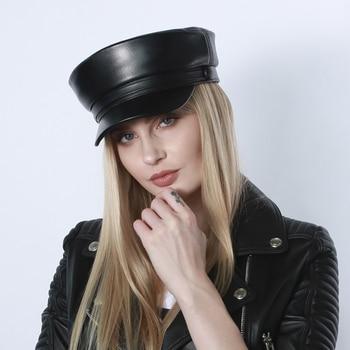 Real Leather Military Cap Men Army Cap Sailor Hats For Women Men Flat Top Female Travel Cadet Hat Captain Military Sheepskin Hat