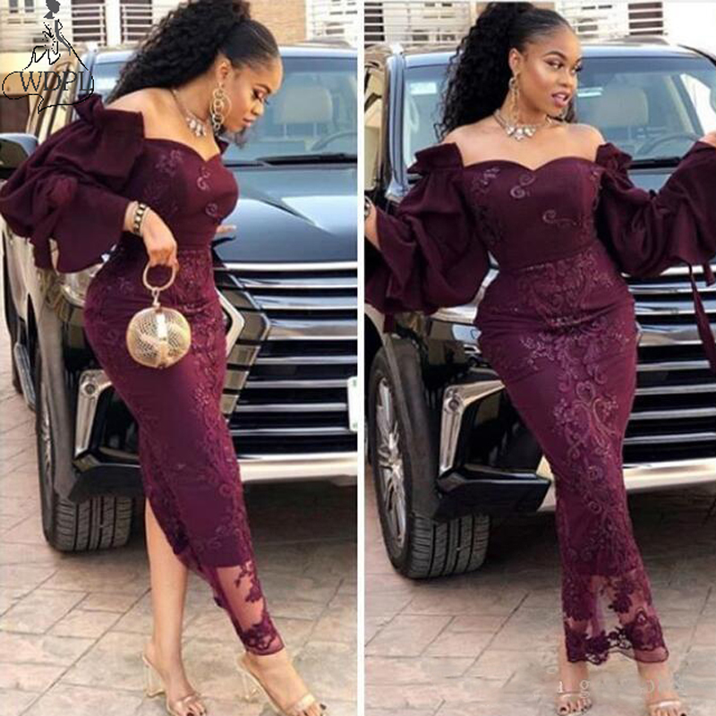2019 Arabia Long Evening Dress Mermaid Dubai Aso Ebi Ankle Length Prom Gowns Off Shoulder Zipper Back Purple Formal Party Dress