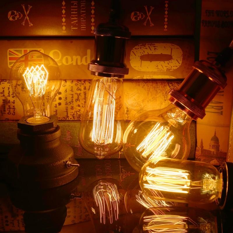 Vintage Edison Bulb E27 40W ST64 G80 G95 T45  Filament Incandescent Ampoule Bulb Retro Edison Lamps Chandelier Pendant Lights