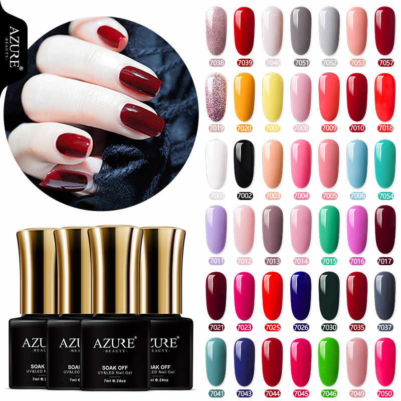 Azure Beauty 50 Warna Uv Gel Nail Polish Semi Permanen LED Nail Gel Varnish Rendam Off DIY Desain Kuku Gel lacquer 7 Ml