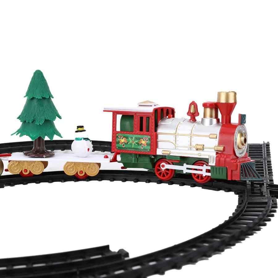 전기 기차 모델 diy 조립 된 레일 자동차 장난감 어린이 철도 기차 세트 레이싱 도로 교통 빌딩 완구