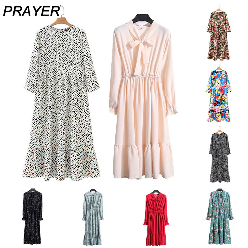 Women Dots Print Maxi Dress Pleated Three Quarter Sleeve Vintage Dress Female Casual Straight Dresses Chic Ankle Length Vestidos
