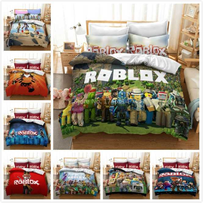 3D Roblox Diy Game Cartoon Beddengoed Set Dekbedovertrek Kussensloop Beddengoed Beddengoed Voor Kids Volwassenen Twin Volledige Queen king Size