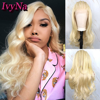 IvyNa Long Loose Wave Synthetic Lace Front Wigs 13x6 Heat Resistant Futura Hair Lace Frontal Wigs 613 Blonde Pre Pluck Baby Hair image