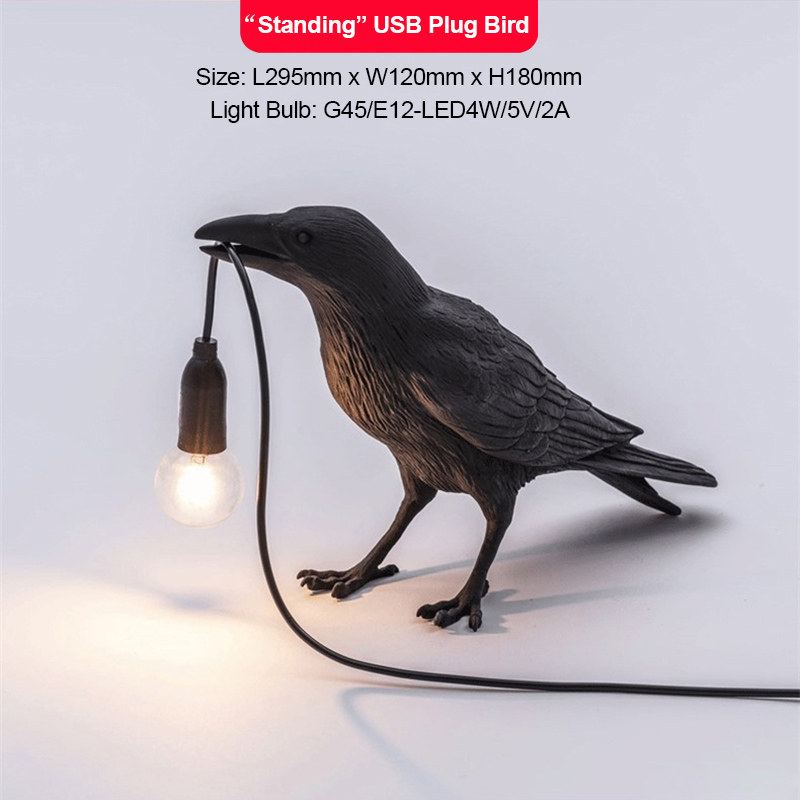 designer resina corvo luz de parede moderna