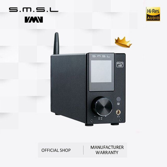 SMSL AD18 HI-FI Audio Stereo Amplifier with Bluetooth 4.2 Supports Apt-X,USB DSP Full Digital Power Amplifier 2.1 for Speaker