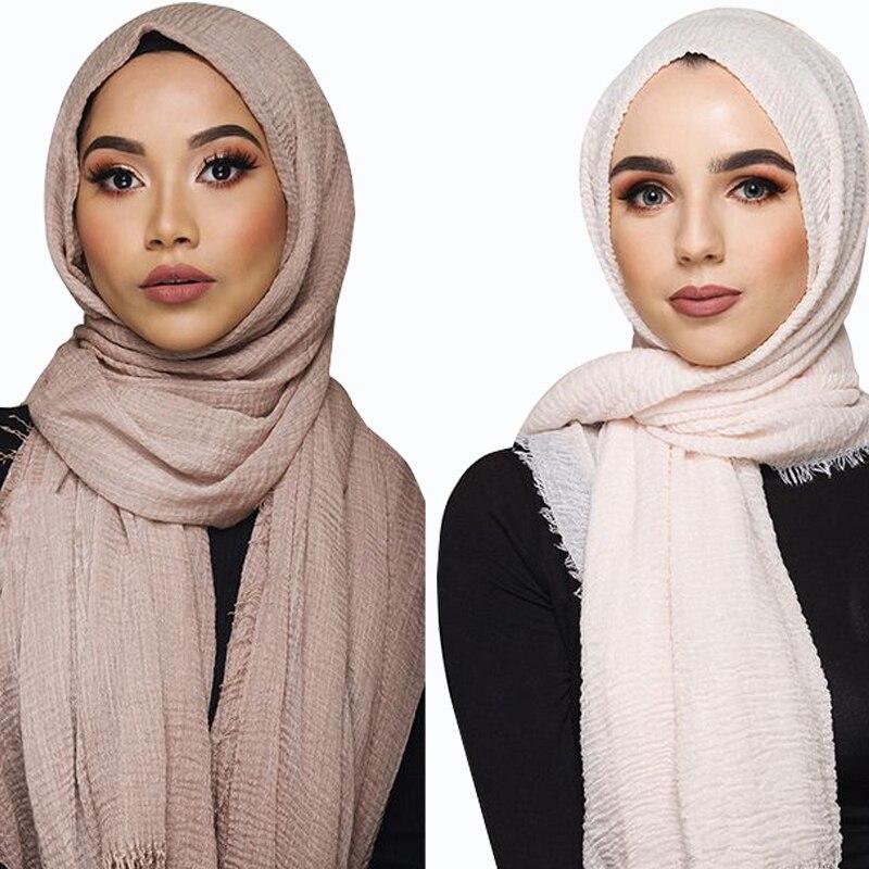 Muslim Plain Soft Crinkle Cotton Hijab Scarf Women Long Shawl Islamic Wrap Stole Female Scarves Fashion Headscarf Hijabs Muffler