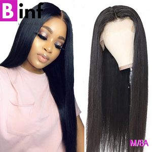"BINF Peruvian Straight Medium Ratio""13X4""Lace Front Human Hair Wigs Pre-Plucked With Baby Hair Remy Hair For Women Color 1B(China)"