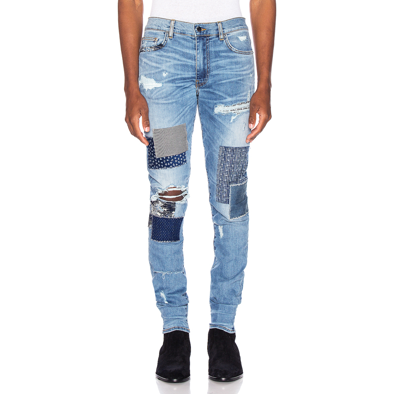 American Streetwear Men Jeans High Quality Blue Color Patchwork Destroyed Ripped Jeans Men Punk Pants Hip Hop Skinny Jeans Homme