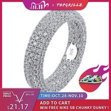خاتم بختم من الفضة الإسترليني عيار 925 عالي الجودة خاتم كامل مثلج بأجزاء مكعبة من الزركونيا للرجال والنساء خواتم خطوبة ساحرة مجوهرات للهدايا