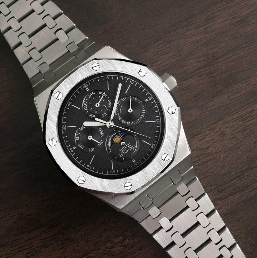 Moda masculina relógio mecânico automático lua fase mês calendário masculino luxuxy luminosa mãos relógio de pulso dos homens à prova dwaterproof água