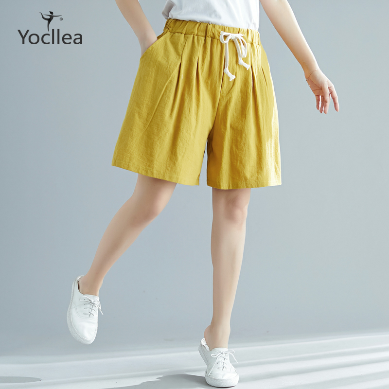 Women Shorts Summer Cotton Linen Trousers Feminino Women's Elastic Waist Office Lady Loose Plus Size Casual Shorts With Pocket