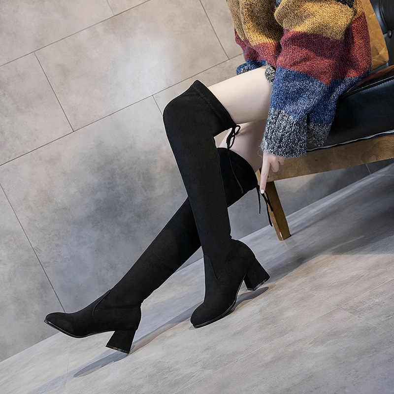 Kadın ayakkabısı, çizmeler topuklu ayakkabılar kış kadın ayakkabısı, çizmeler kadın topuklu 2019 Overknee çizmeler kadın ayak uzun çizmeler