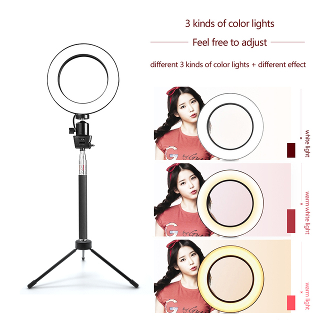 SPASH Ring Light 8 Inch Ring Lamp Bluetooth USB Plug with Selfie Stick Tripod Phone Holder