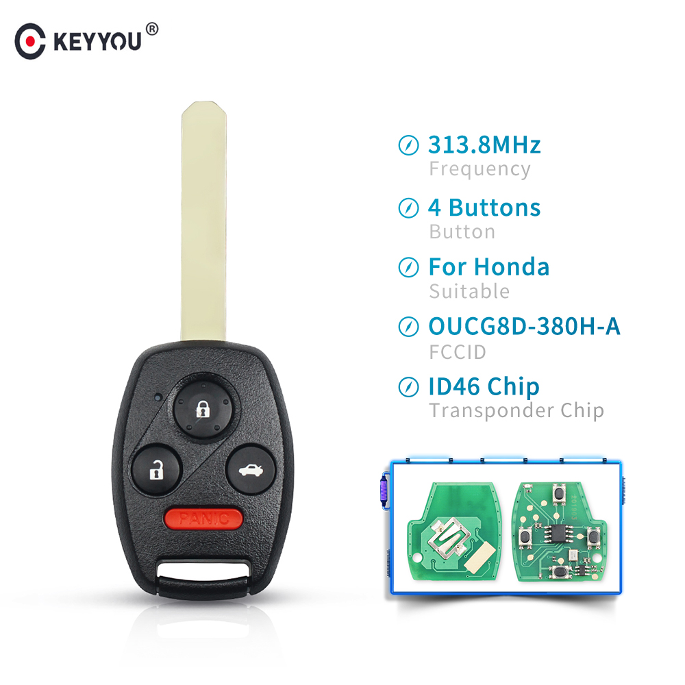 KEYYOU 3+1 4 Buttons Car Key 313.8MHZ OUCG8D-380H-A With ID46 Chip <font><b>Remote</b></font> Control Key For <font><b>Honda</b></font> Accord 2003 2004 2005 2006 2007 image