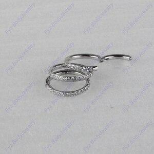 Image 1 - Хирургическое кольцо из нержавеющей стали 316L 16 г с подкладкой из кубического циркония для перегородки носа, пирсинг для хрящевой части уха