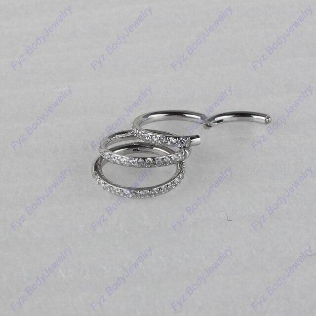Хирургическое кольцо из нержавеющей стали 316L 16 г с подкладкой из кубического циркония для перегородки носа, пирсинг для хрящевой части уха