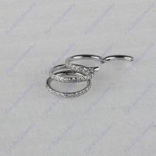316L Chirurgischer Edelstahl 16g Seite Set Gefüttert CZ Nase Septum Clicker Segment Ring Piercing Ohr Knorpel Helix Tragus Stud