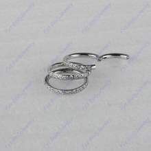 316L Surgical Stainless 16g Side Set Lined CZ Nose Septum Clicker Segment Ring Piercing Ear Cartilage Helix Tragus Stud